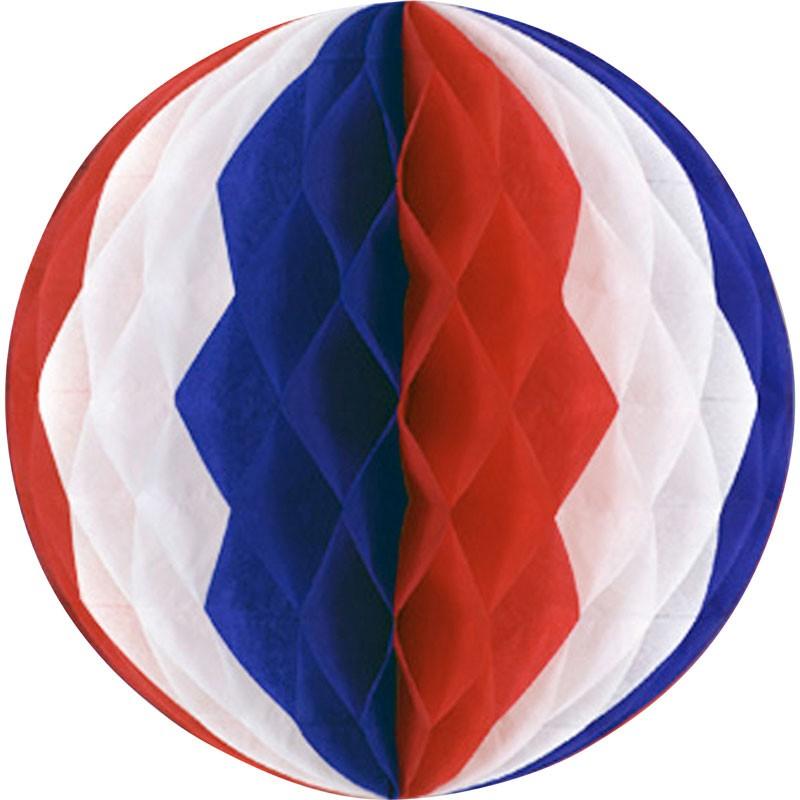 Boule alvéolé tricolore France ou USA 38 cm