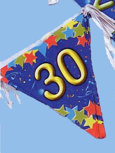 Guirlande fanions 30 ans bleue