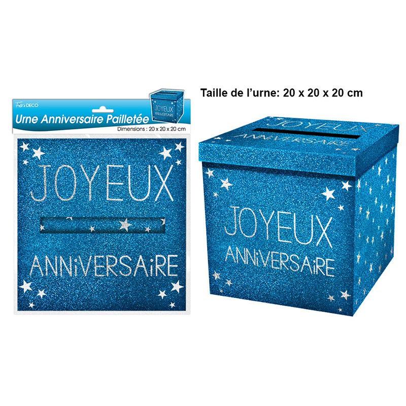 Urne joyeux anniversaire argent bleue