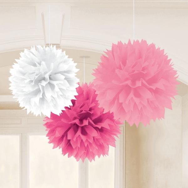3 pompons fleurs papier rose degradé