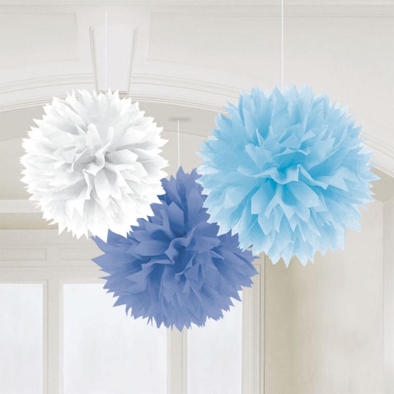3 pompons fleurs papier bleus dégradés