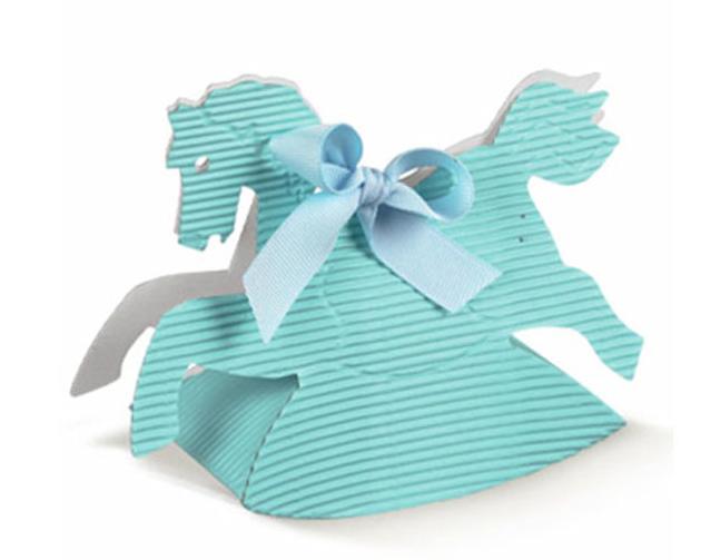 10 boites pour dragées cheval à bascule bleu