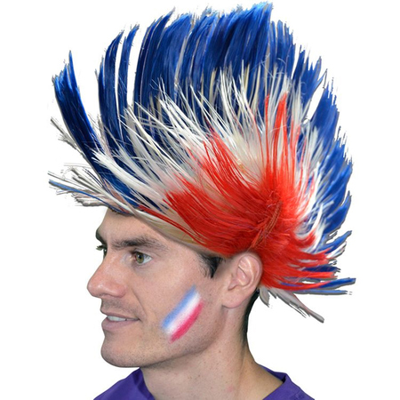 Perruque France bleu blanc rouge