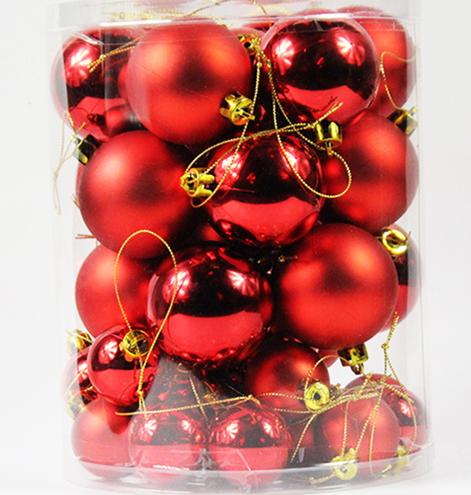 27 mini boules de noel rouges