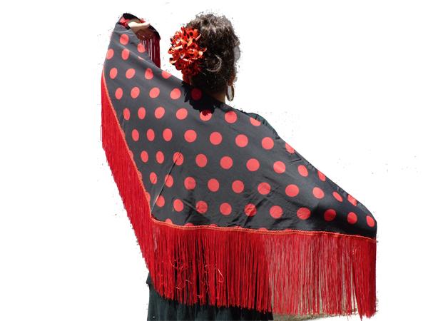 Châle espagnol noir à pois rouges