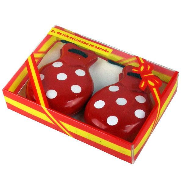 Castagnettes en bois rouges à pois blancs