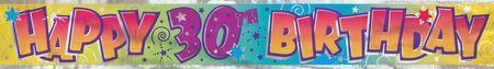 Bannière Métallisée Happy Birthday 30 Ans