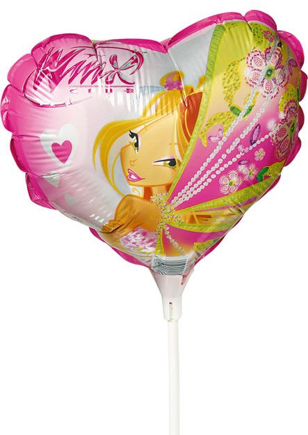 Ballons coeur Winx 25 cm sur tige