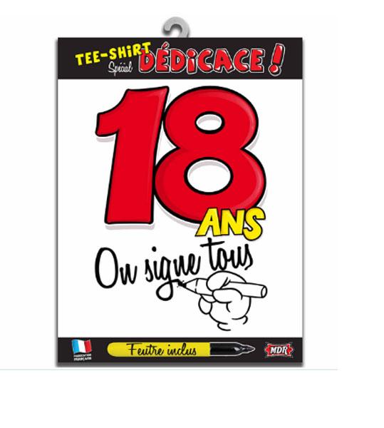 Tee shirt dédicace anniversaire 18 ans