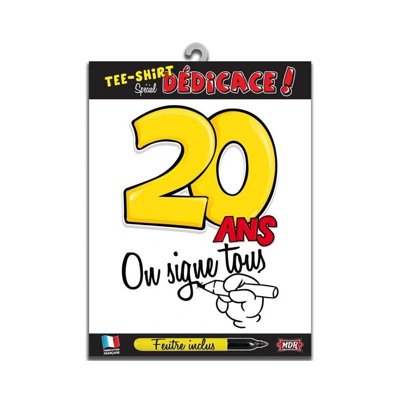 Tee shirt dédicace anniversaire 20 ans