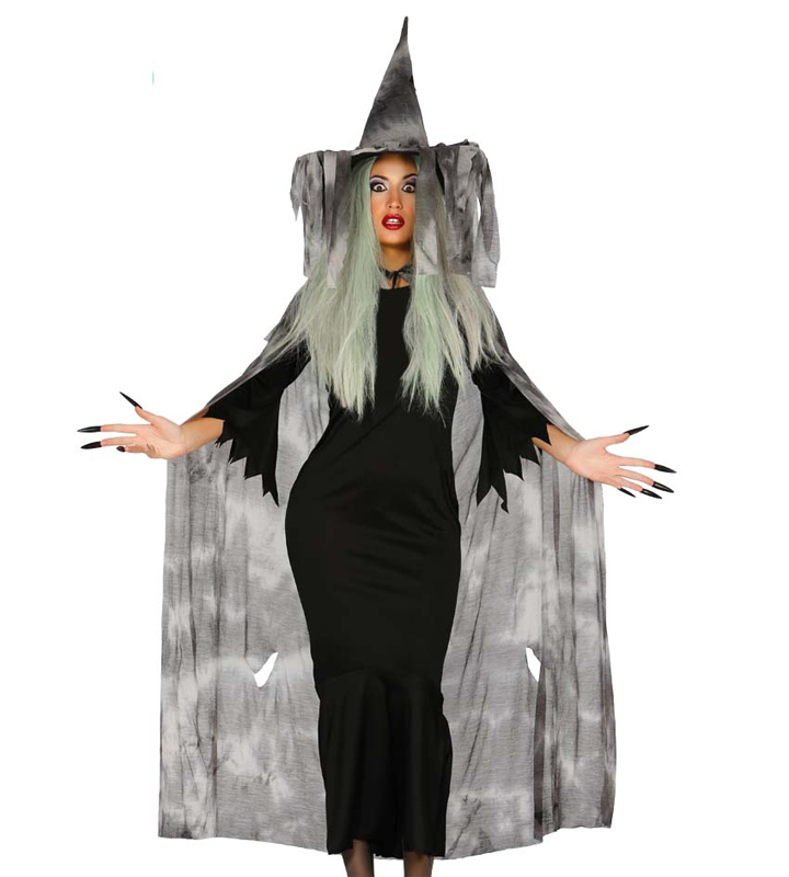 Cape et chapeau de sorcière gris