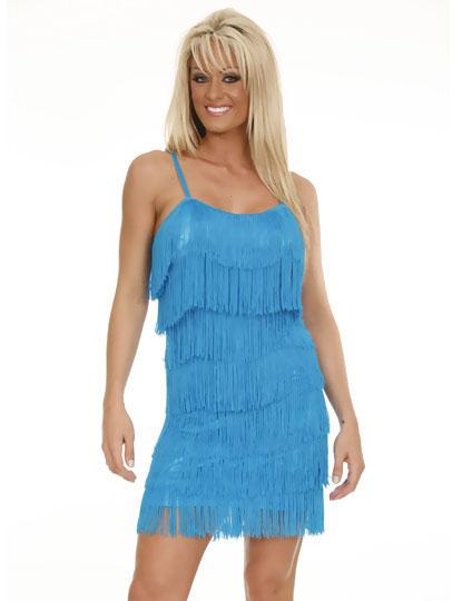 Déguisement robe charleston à franges turquoise