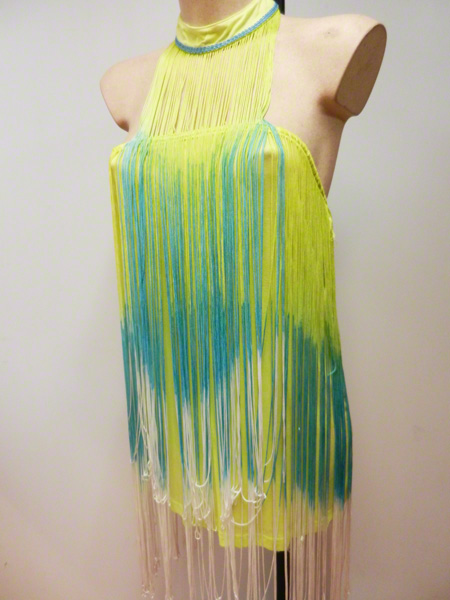 Mini robe charleston jaune et turquoise