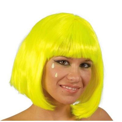 Perruque carrée jaune fluo