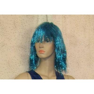 Perruque Disco Lamée Turquoise