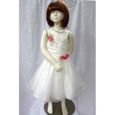 Robe de cérémonie enfant ivoire avec fleurs roses