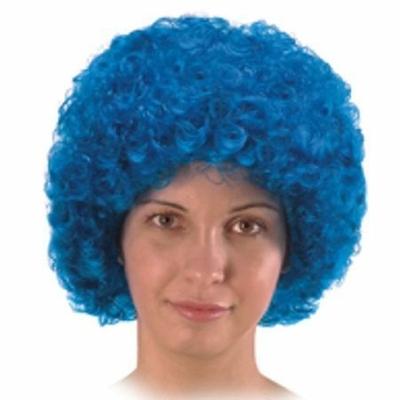 Perruque Pop Bouclée Éco Bleue