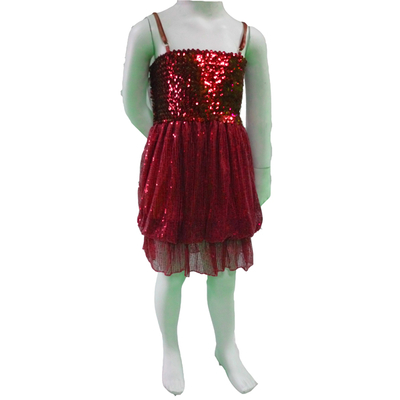 Robe disco boule enfant rouge