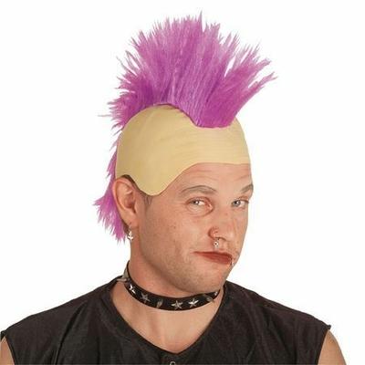 Perruque Punk Avec Crane Chauve Vert Fluo