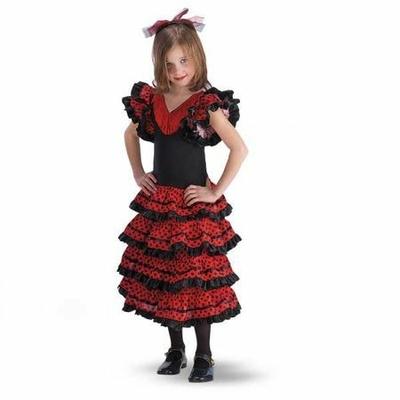 Robe de Flamenco Enfant Rouge Et Noire