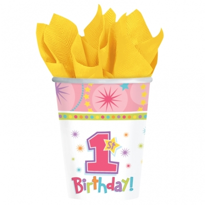 8 verres premier anniversaire rose