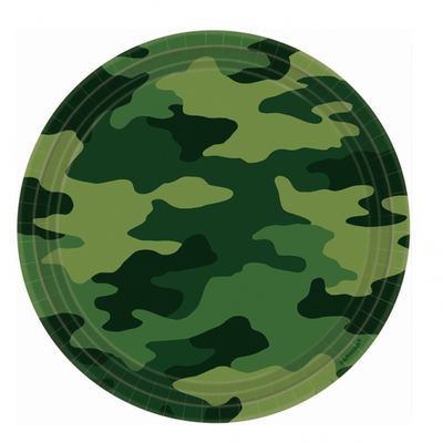 8 assiettes 23 cm thème camouflage