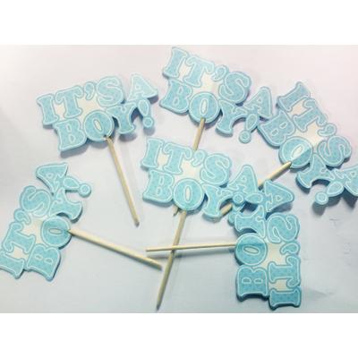 """mini pique à cup cakes bleus it""""s a boy"""
