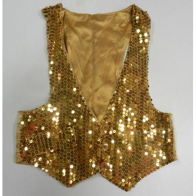 Gilet disco mixte doré enfant à paillettes