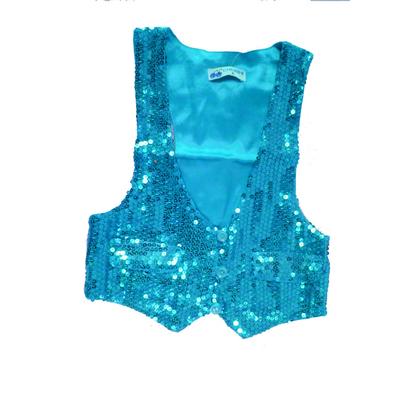 Gilet disco mixte enfant à paillettes bleu turquoise
