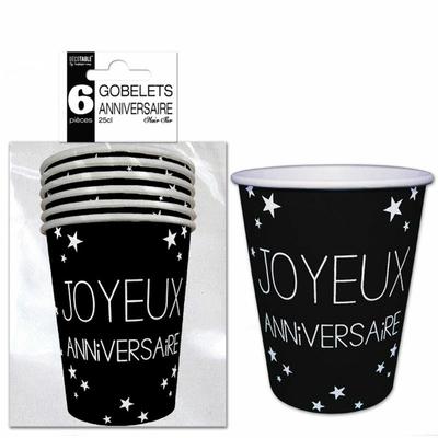 6 Gobelets noirs joyeux anniversaire