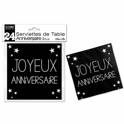 24 serviettes noires joyeux anniversaire