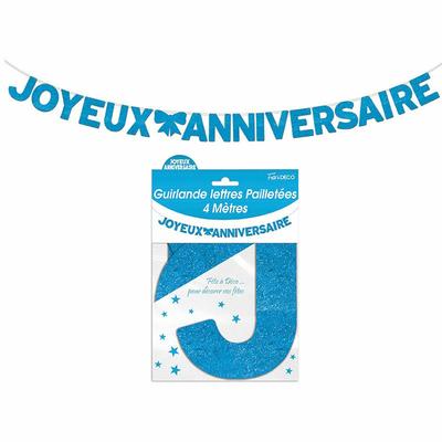 Guirlande lettres joyeux anniversaire bleue