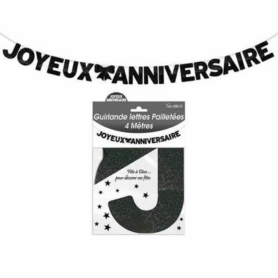 Guirlande lettres joyeux anniversaire noire