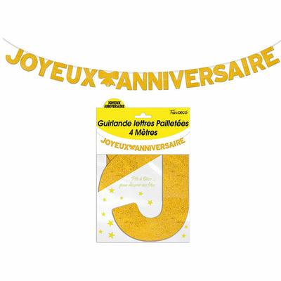Guirlande lettres joyeux anniversaire or