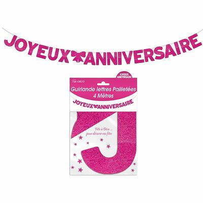Guirlande lettres joyeux anniversaire rose