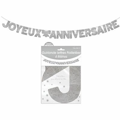 Guirlande lettres joyeux anniversaire argent