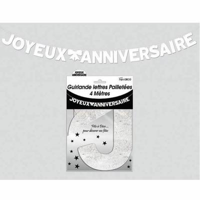 Guirlande lettres joyeux anniversaire blanche