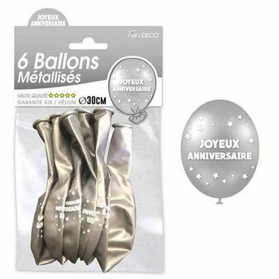 6 Ballons joyeux anniversaires argents