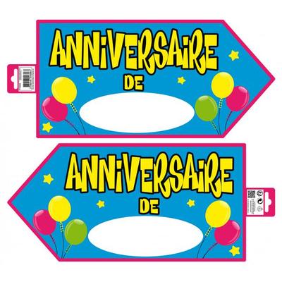 Pancarte signalétique joyeux anniversaire bleu