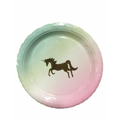 Assiettes licornes pastel 18 cm