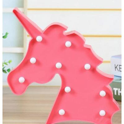 Mini lampe tête de licorne rose