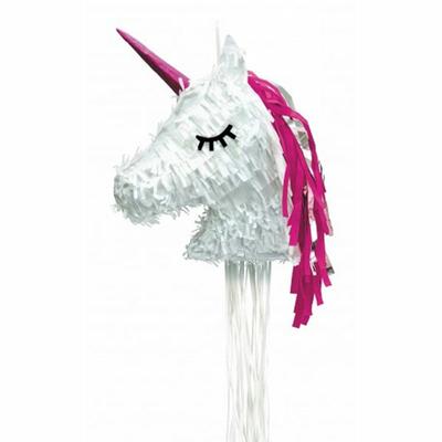 Pinata tête de licorne blanche