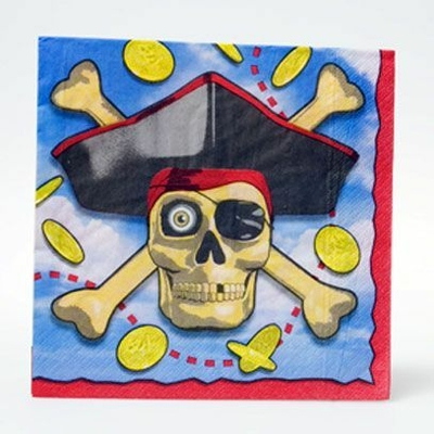 16 Serviettes Pirate 33Cmx33Cm
