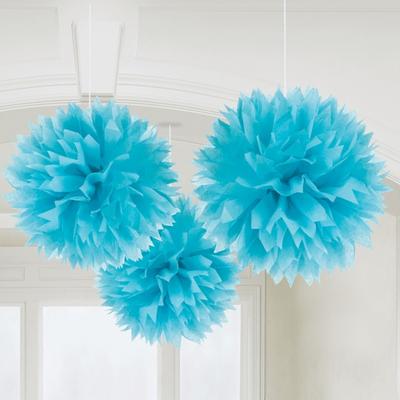 3 pompons fleurs papier bleues