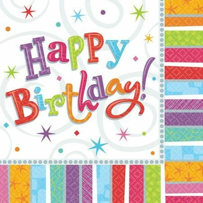 Serviettes Jetables Happy Birthday