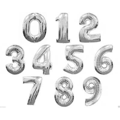 Ballon chiffre mylar argent 104 cm