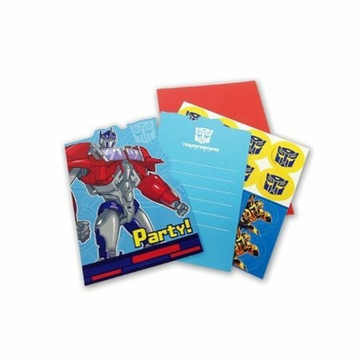 8 Cartons d'Invitations Thème Transformers