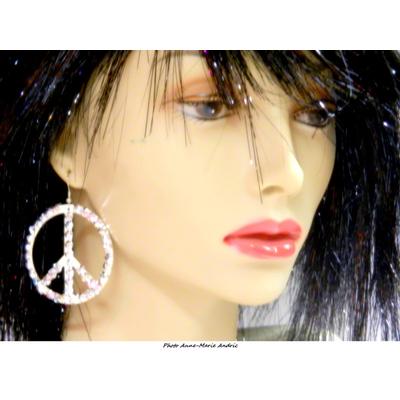 Boucles d'oreille hippie argent avec strass