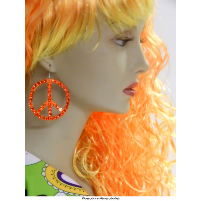 Boucles d'oreille hippie oranges avec strass