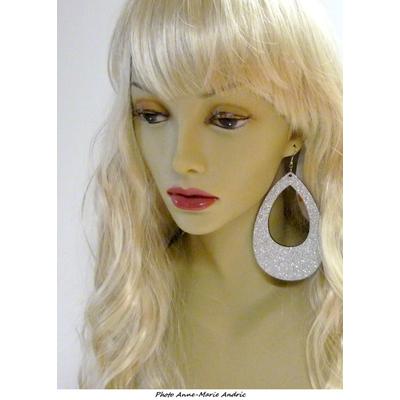 Boucles d'oreille ovales disco pailletées argent